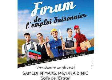 Forum de l'emploi saisonnier, le 14 mars à Binic