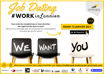 Job Dating profils cadres, le 12 janvier 2021 - WorkInLannion